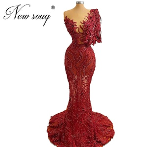 Mermaid Long Evening Dresses 2020 New Couture Dubai Beaded Prom Dress One Shoulder Illusion Celebrity Gowns Robe De Soiree Aibye