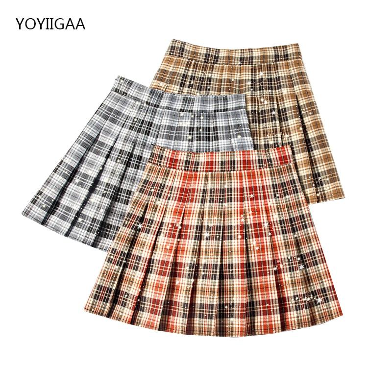 Harajuku Women Pleated Skirts High Waist Female Plaid Mini Skirts Preppy Style Woman Skirt Fashion Chic Ladies Girls Short Skirt