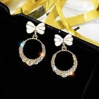 bow zircon earring bowknot hoop earrings women girls elegant zircons drop circle earring fashion jewelry christmas gifts