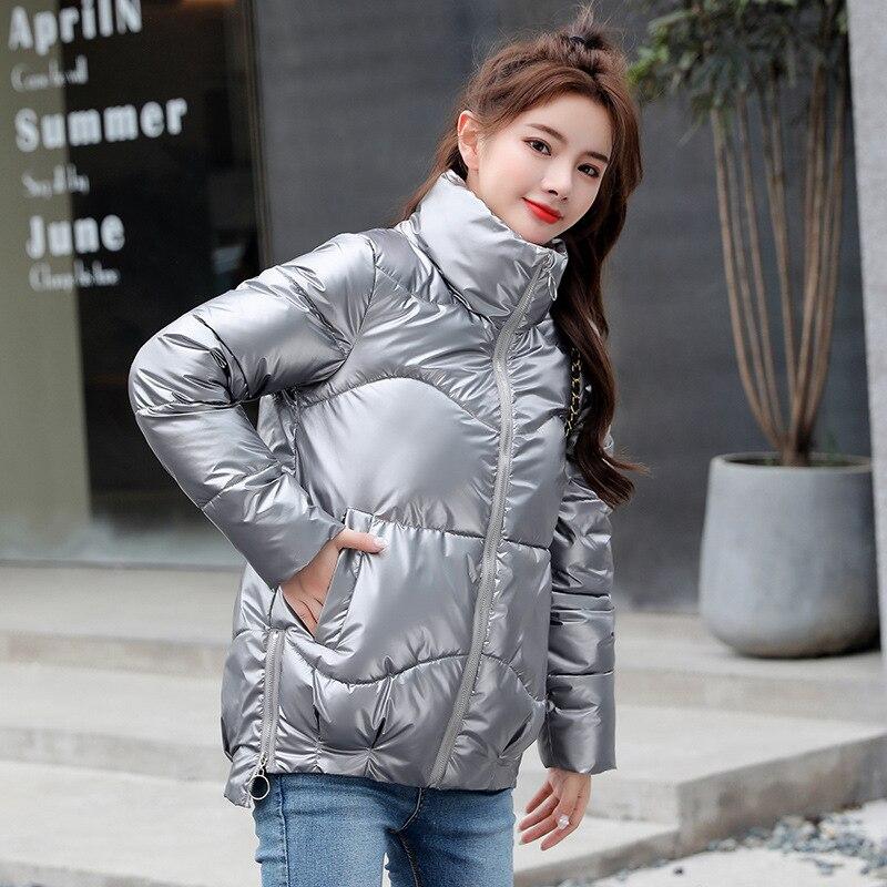 Женское блестящее короткое пальто в полоску, с воротником-стойкой и карманами