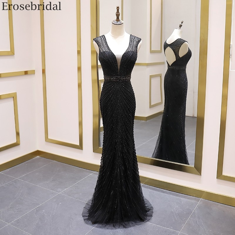 Erosebridal Beads Black Evening Dress 2020 Sexy V Neck Long Formal Dress Women Evening Gown Sweep Train Long Prom Dress