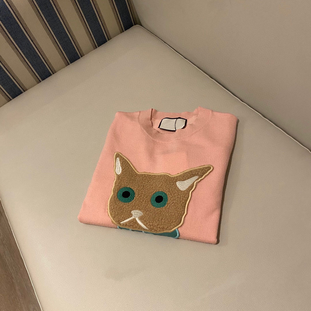 2021 luxury design cat letter embroidery fashion women's long sleeve Pullover temperament versatile round neck knitted sweater enlarge