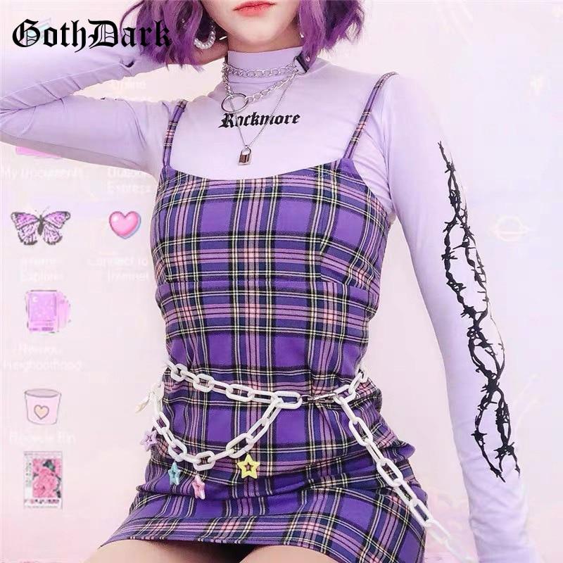 Goth escuro harajuku y2k xadrez mini vestidos gótico sem costas retalhos fora do ombro festa vestido feminino bodycon vestido vintage emo