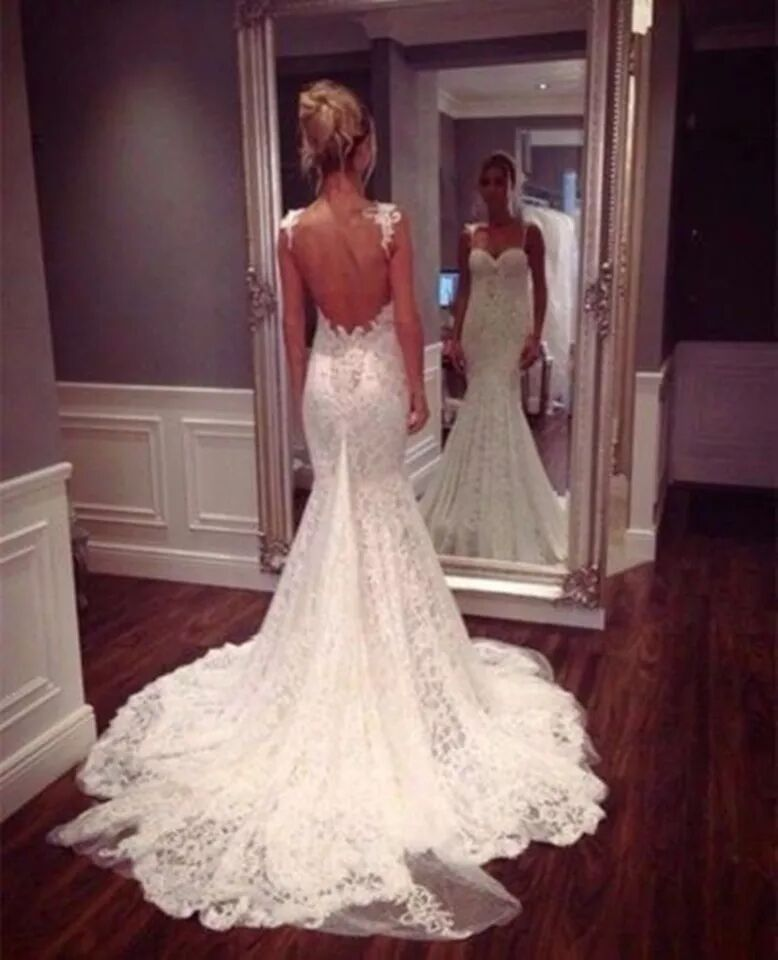 семена 2022 Vintage Sexy Backless Sweetheart Applique Lace Mermaid Custom bridal gown vestido de noiva Bespoke Wedding Dresses