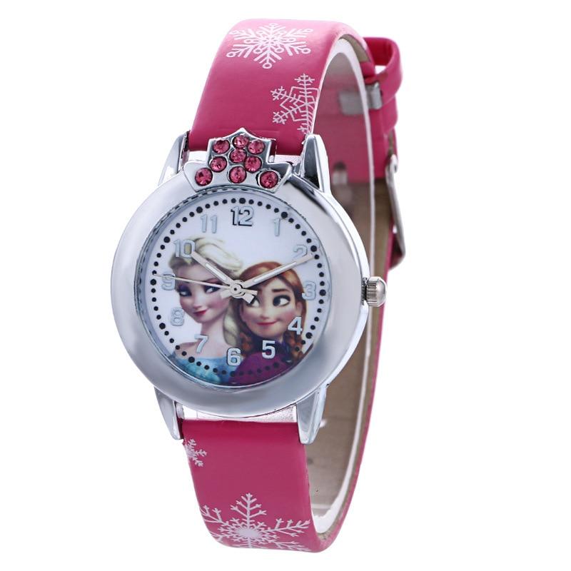 Disney frozen relógio dos desenhos animados moda feminina relógio de moda estudante tendência digital dos desenhos animados cinto relógio de quartzo feminino