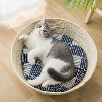 new fashion pet cat scratching bed round woven cat sleeping bed kitten puppy scrapers grinding nails scratcher mats cat supplies