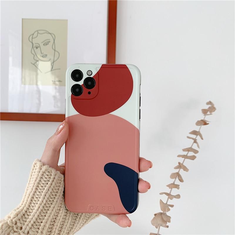 Moda geometria irregular caso de telefone para iphone 11 pro max x xr xs max caso para iphone 8 7 plus luxo engraçado graffiti macio caso