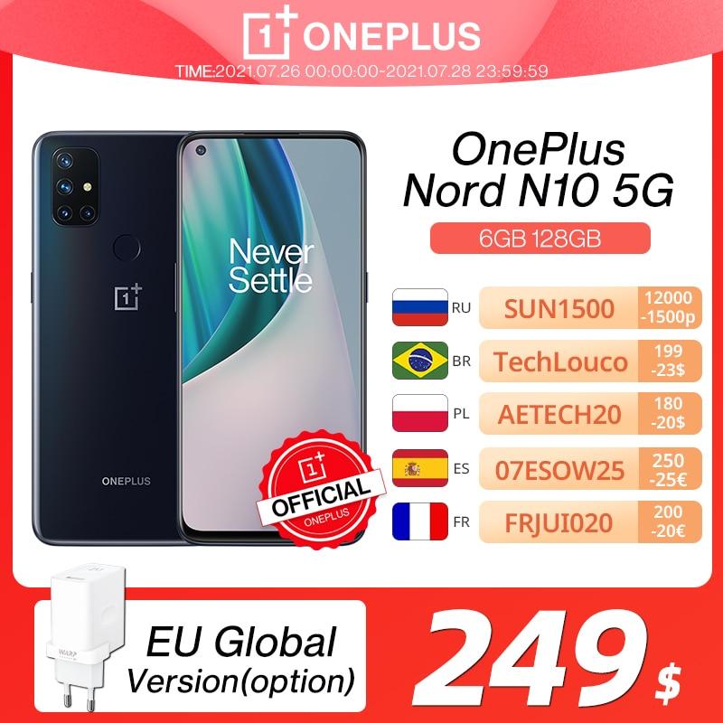 OnePlus Nord N10 5G Глобальная версия 6 ГБ 128 ГБ Snapdragon 690 Смартфон Дисплей 90 Гц Четырехкамерные камеры 64 Мп OnePlus Official Store; код(for APP): 4DEAL005(P900-300) 4DEAL004(P900-300)