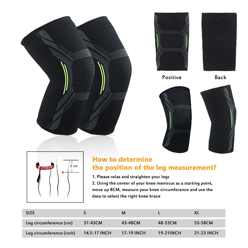 1PC Elastic Knee Pads Four-way Stretch Knit Nylon Kneecap Outdoor Sport Cycling Fitness Compression Protectors Knee Support