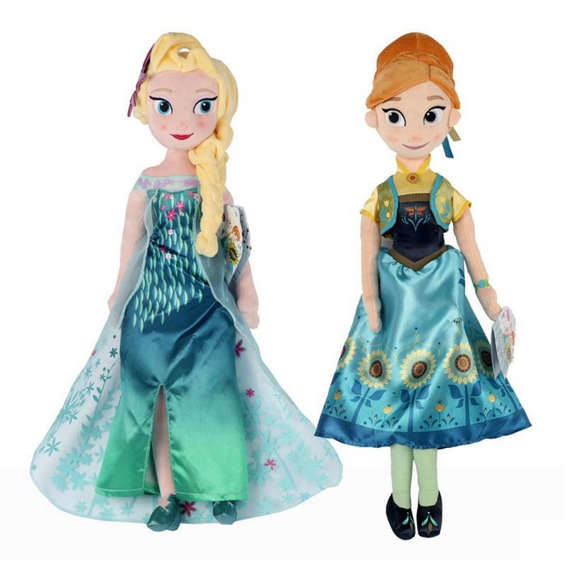 New Princess Snow Queen Anna Elsa Plush Doll Fire Lizard 2 Fever Fire Elves Snowman Olaf Plush Doll For Kids Girls Birthday Gift