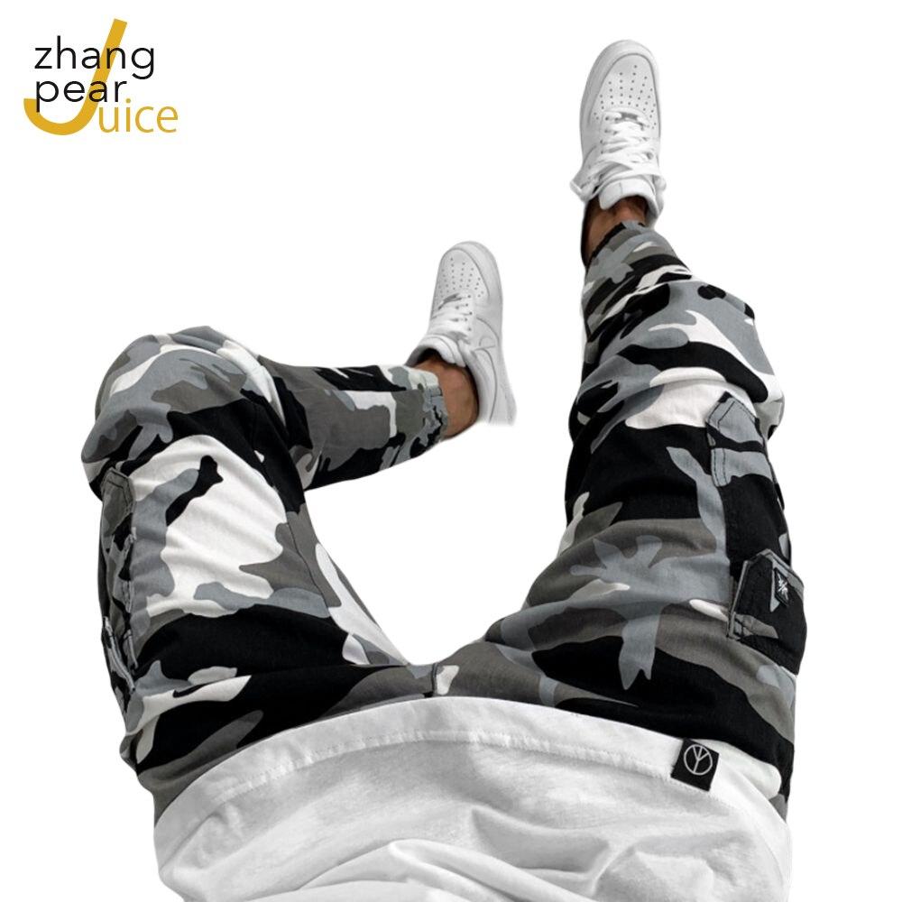 Мужские камуфляжные джинсы с карманами, мужские Модные повседневные брюки с эффектом потертости, брюки, уличная одежда, брюки