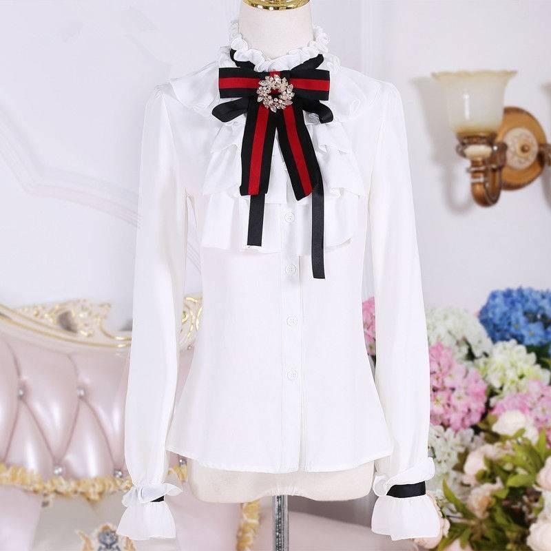 Lolita coreana mujer lazo elegante Blusas blancas Camisa ajustada volantes Oficina señoras Tops escuela Blusas Mujer ropa CC385