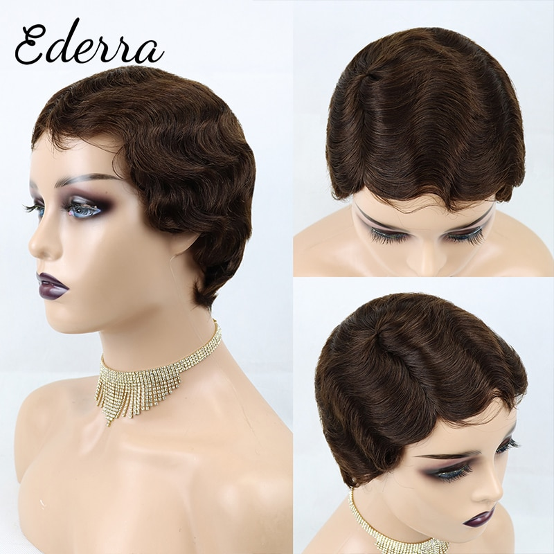 Short Finger Wave Cheap Wigs For Women Remy Real Hair Pixie Cut Wig Short Human Hair Wigs Machine Made Mix Color
