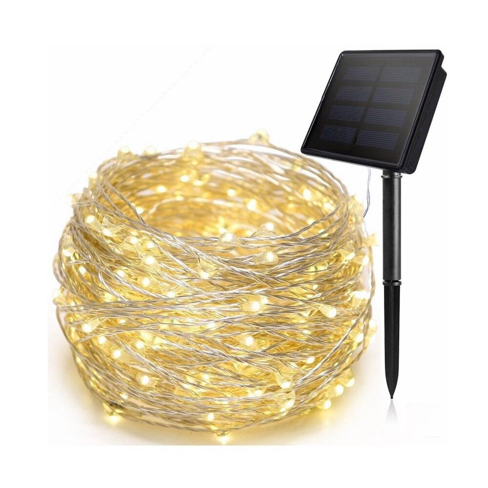 5M 10M 20M guirnaldas de luces alimentadas por energía Solar alambre de cobre guirnaldas de luces LED impermeable al aire libre patio árbol de Navidad Garedn decoración lámpara Solar