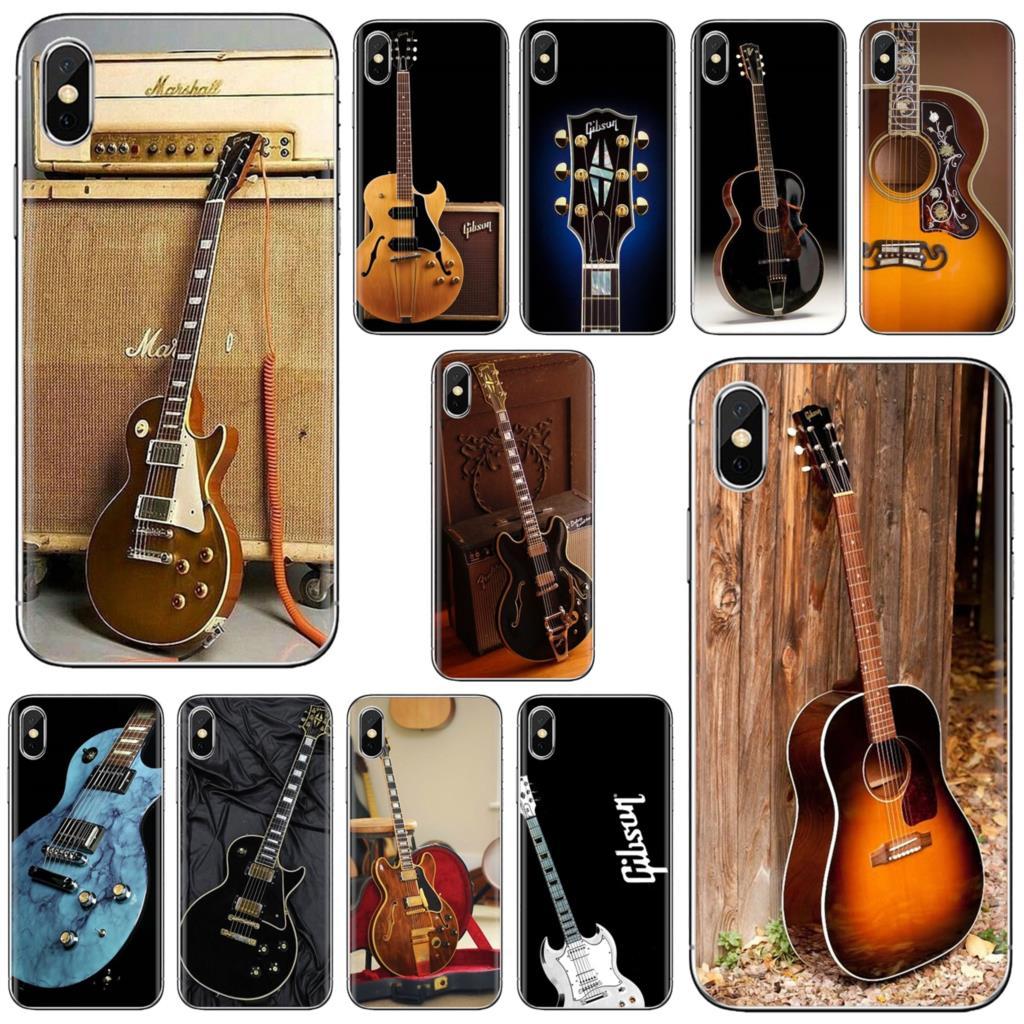Para Samsung Galaxy J1 J2 J3 J4 J5 J6 J7 J8 Plus 2018 primer 2015 de 2016 de 2017 de la cubierta de la cáscara de instrumentos musicales guitarra Gibson