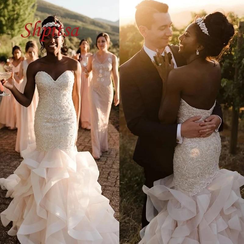 Get Sexy Luxury Wedding Dresses Mermaid White Ivory Plus Size African Corset Beaded Women Weeding Bridal Bride Dresses