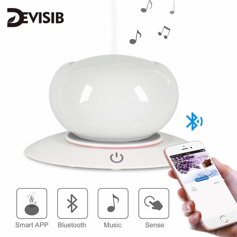 DEVISIB Bluetooth haut-parleur en céramique arôme diffuseur dhuile essentielle sans eau arrêt automatique 7 couleurs LED humidificateur à ultrasons