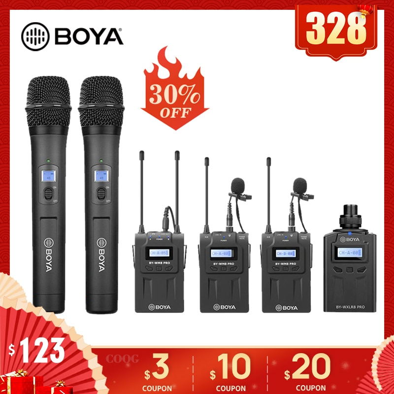 BOYA BY-WM8 Pro UHF Mic Kondensator Wireless Mic Mikrofon Audio Video Recorder Empfänger für Canon Nikon Sony Kamera