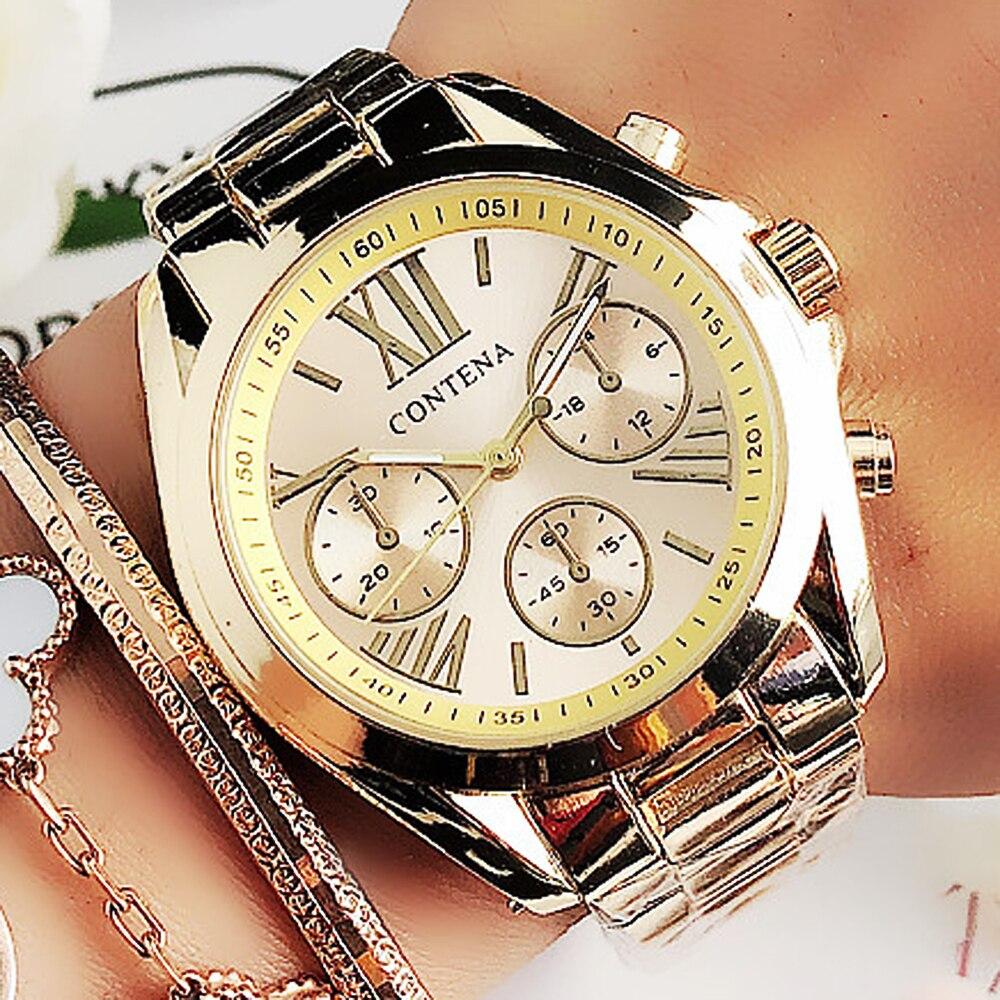 CONTENA, relojes de lujo de oro para Mujer, relojes de pulsera de cuarzo de acero inoxidable, relojes de Mujer, Reloj de Mujer, Reloj femenino