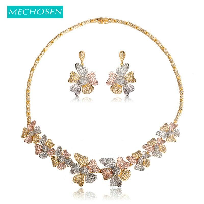 Mechown feminino nupcial colorido flor conjuntos de jóias de casamento colar brincos 3 tom rosa ouro prata cores dubai bijoux africano