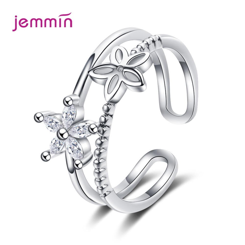Adjustable 925 Sterling Silver Flower Plant Zircon Open Ring for Women Fashion Minimalist Resizbale Finger Ring Fine Jewelry 925 sterling silver ring for women adjustable ring female zircon silver 925 ring personality flower grass simple fashion jewelry