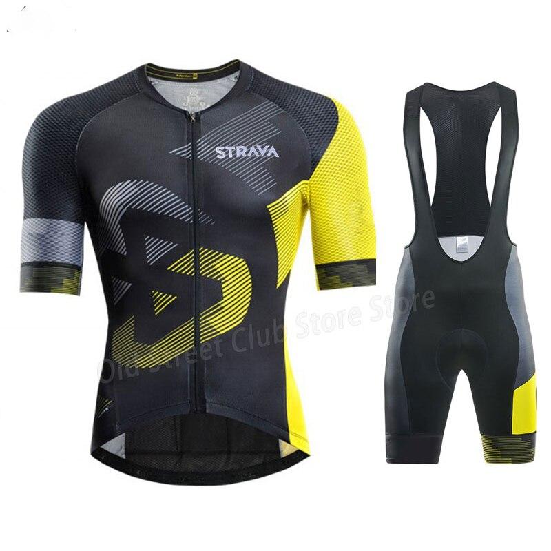 Ropa de ciclismo del equipo STRAVA para hombre, conjunto de Jersey y...