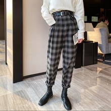 Black and White Plaid Pants Women's Loose Autumn and Winter 2020 New Slimming All-Matching Straight