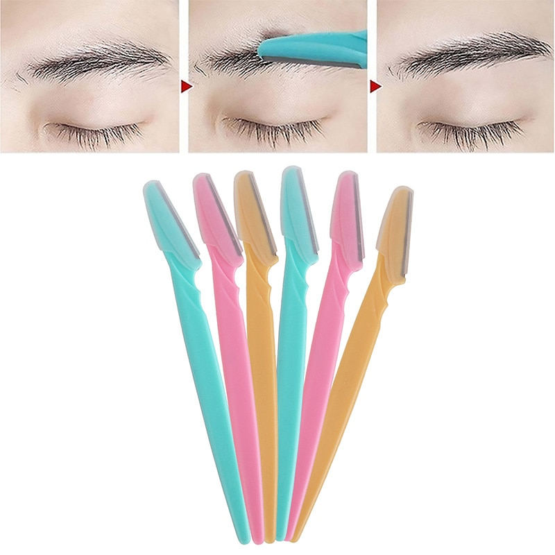 6Pcs/set Portable Tinkle Eyebrow Trimmer Safe Blade Shaping Knife Eyebrow Blades Hair Remover Set Ey