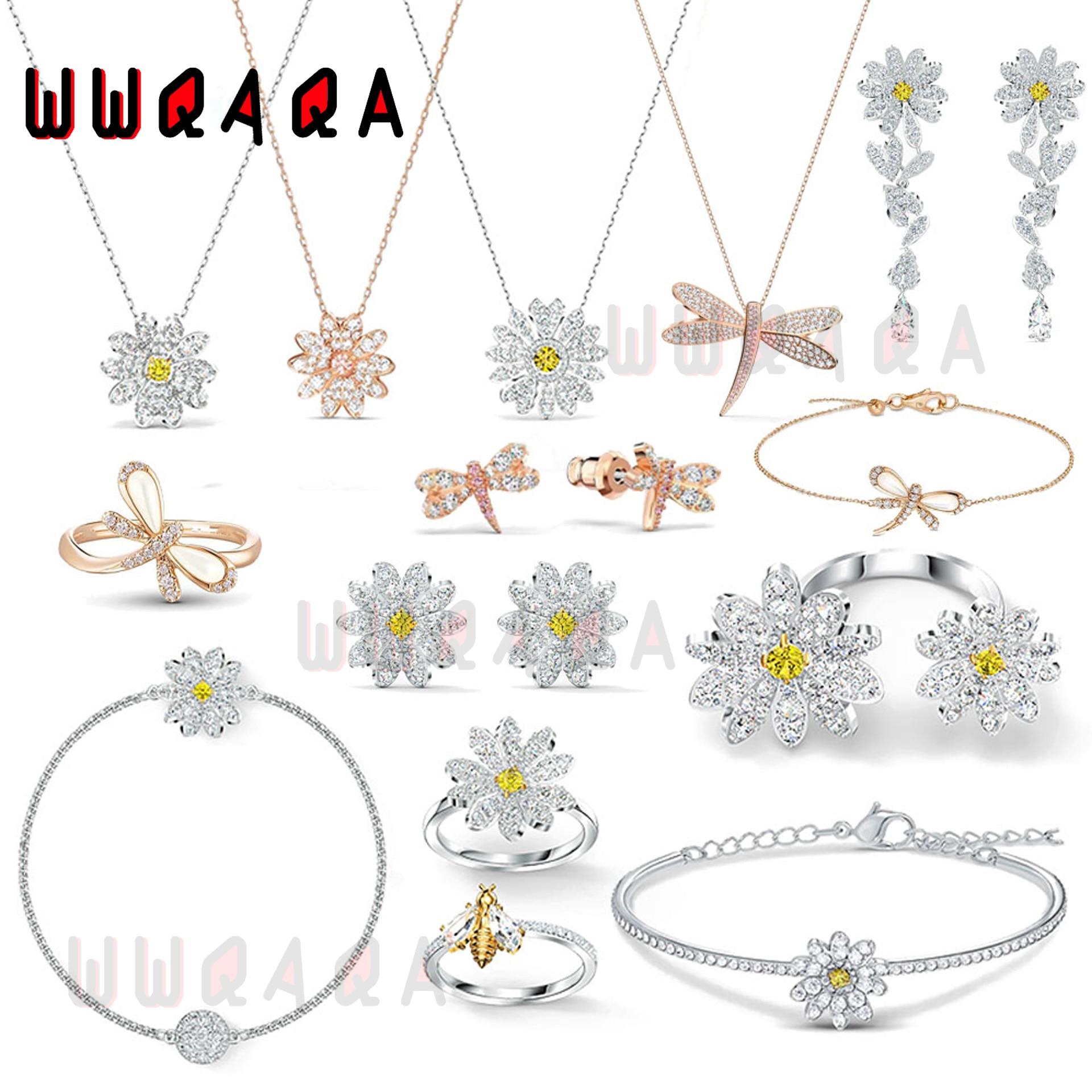 Модные-ювелирные-изделия-из-бутика-swa-набор-серии-вечный-цветок-маргаритки-женские-серьги-ожерелье-браслет-кольцо-романтический-подаро