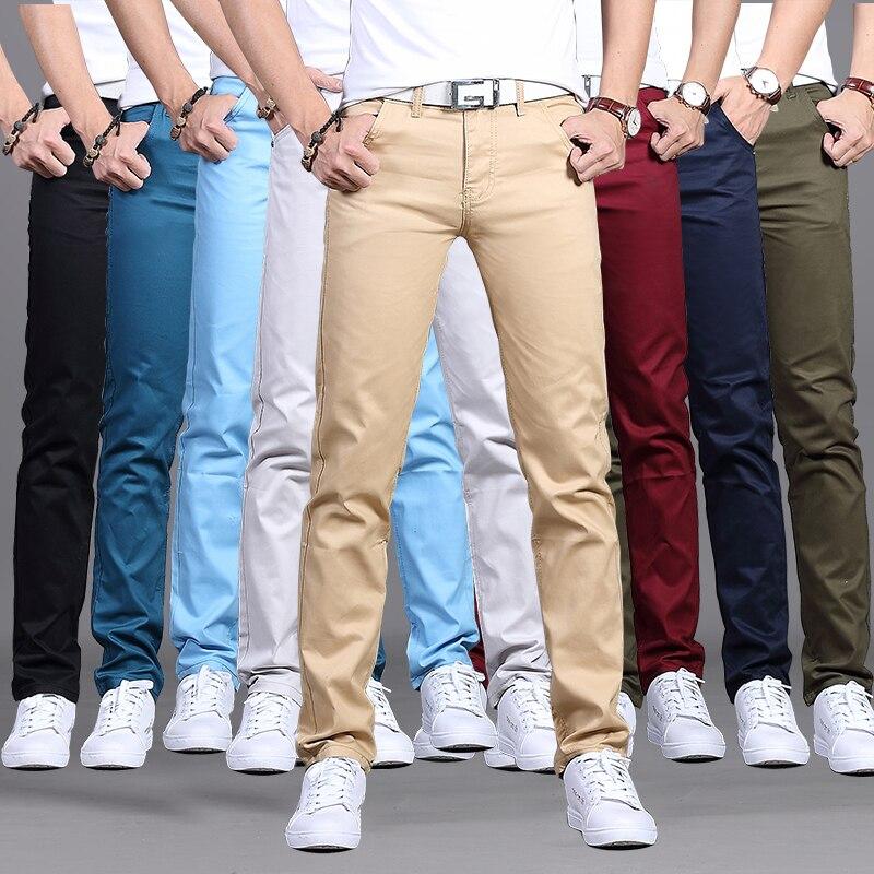 Брюки мужские повседневные хлопковые, приталенные штаны-чинос, модная брендовая одежда, 9 видов цветов, большие размеры 28-38, весна-осень 2019