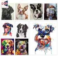 painting by number picture dog animal on canvas with frame drawing for adults acrylic paint coloring by number home decor art