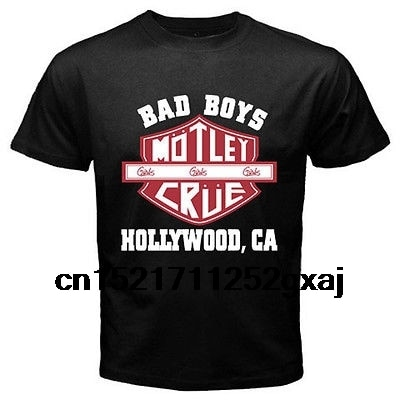 Camiseta de hip hop para hombres camiseta MOTLEY CRUE Bad Boys Metal con impresión de banda de rock negro camisetas de manga corta divertidas camisetas para mujeres