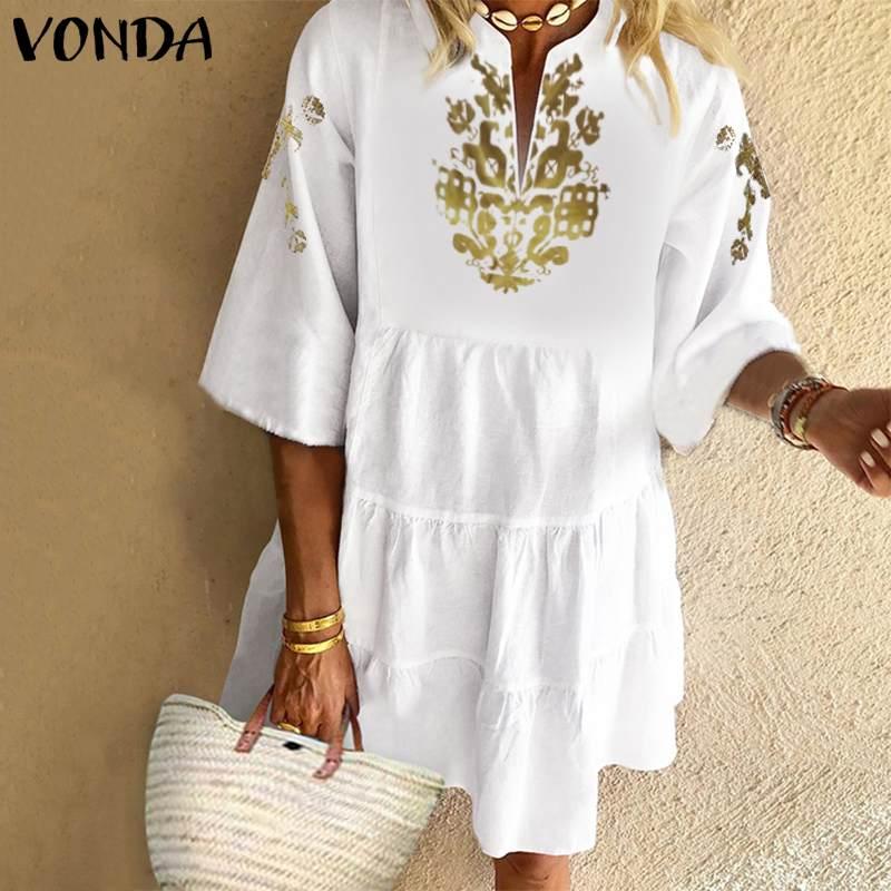 Vestido de verão boêmio feminino vintage floral impresso mini vonda 2020 sexy babados vestido de verão férias praia vestido feminino