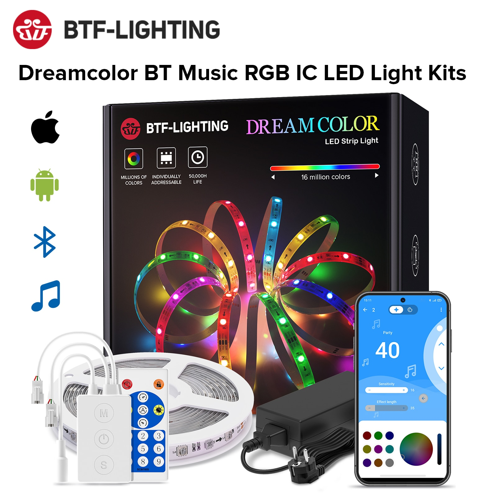 Dreamcolor LED قطاع الخفيفة BT الموسيقى APP التحكم WS2811 RGB IC مرنة مصباح ليد قطاع لغرفة التلفزيون غرفة نوم مطبخ حفلة 10 متر 20 متر