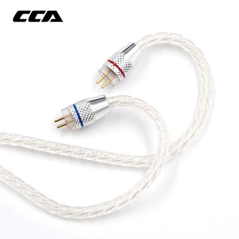 Nuevo CCA Cable de actualización Chapado en plata Cable de Audio de 3,5mm 4 núcleos 0,75mm 2 pines Cable de auricular Original DIY para CCA C10/C16/C04