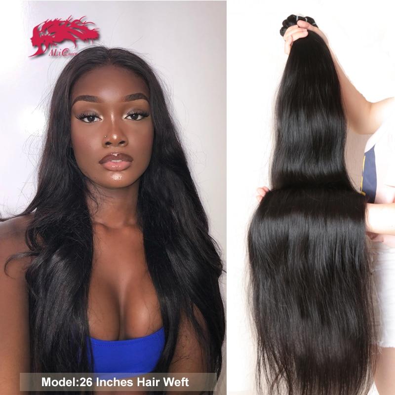 Brazilian Straight Human Hair Weaves Bundles 1/3/4 Pcs Natural Black Remy Hair Free Shipping Ali Queen 100% Human Hair Bundles