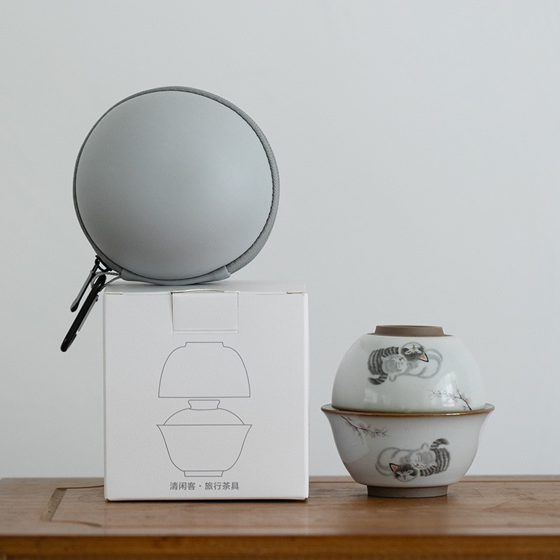 LUWU-إبريق شاي سيراميك gaiwan ، طقم شاي محمول للسفر