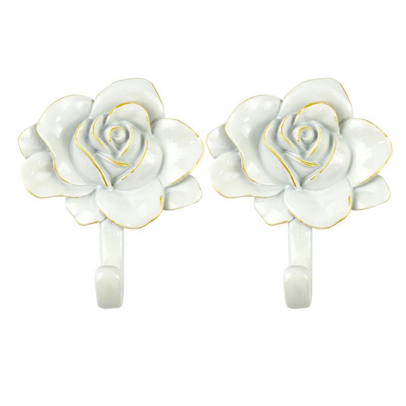 2 piezas Rosa gancho flor percha No perforante resina gancho creativo ganchos adhesivos blanco rosa con borde dorado