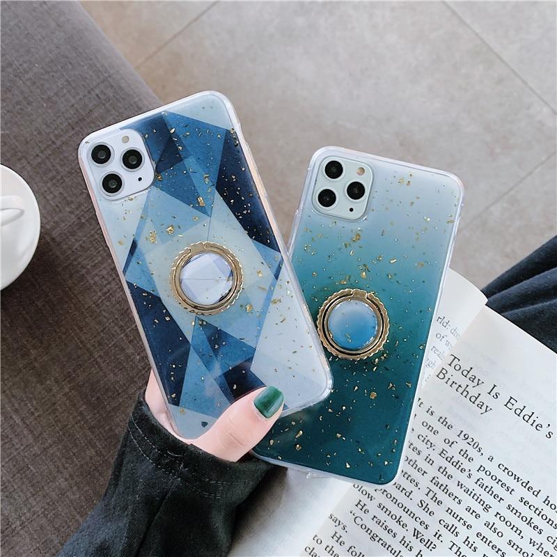 Funda trasera de lujo geométrica Patten Sequins Phone carcasa para iPhone 6 6s 7 8 plus 11 Pro Max X XR XS Max