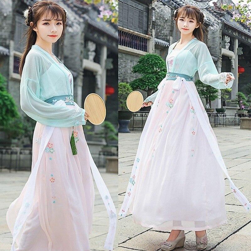 Hanfu-معطف مزدوج الصدر ، تنورة شيفون Ru ، ملابس خيالية ، عناصر شخصية هان من زي فئة الأداء