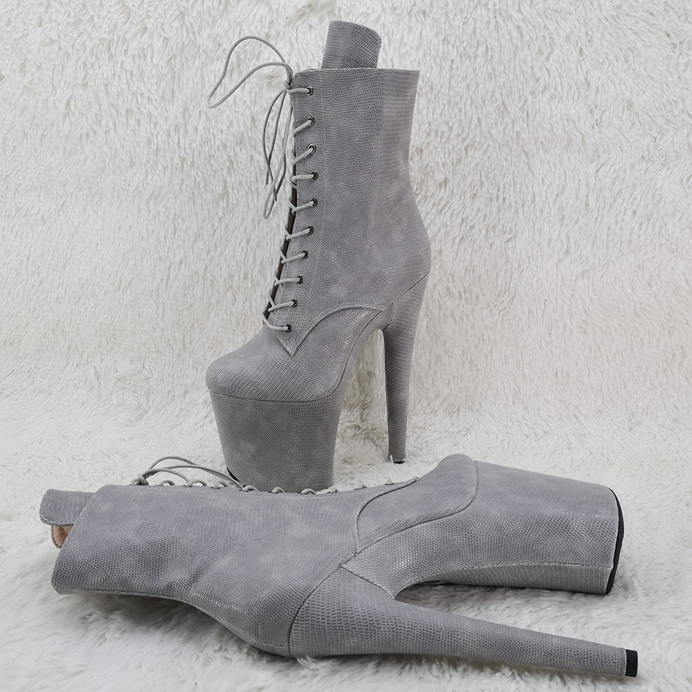 Leecabe  20CM/8inches ankle boots  party   High Heel platform Pole Dance boot