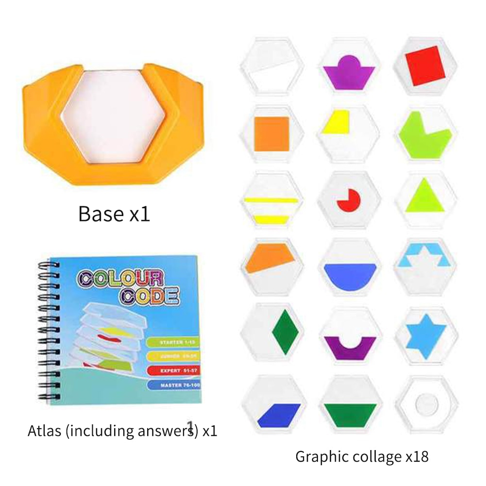 Para niños Regalo Seguro aprendizaje lógica Jigsaws habilidades figura para mascotas cognición código de Color pensamiento espacial juguete educativo preescolar