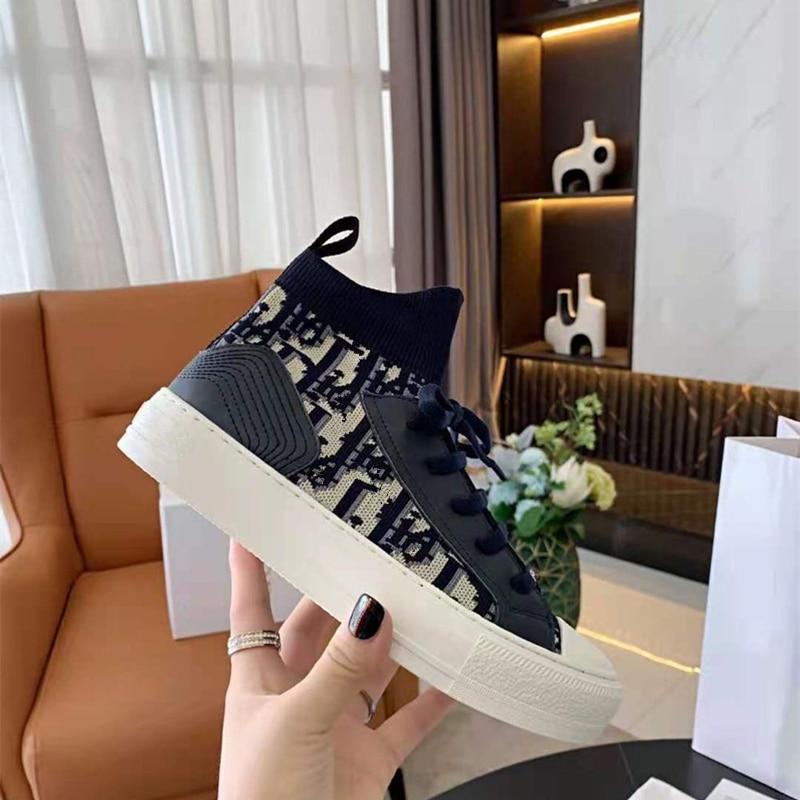 مصمم مرونة شقة رسالة نمط النساء أحذية أحذية رياضية فاخرة أحذية تنس منصة أحذية مفلكنة أسود أزرق