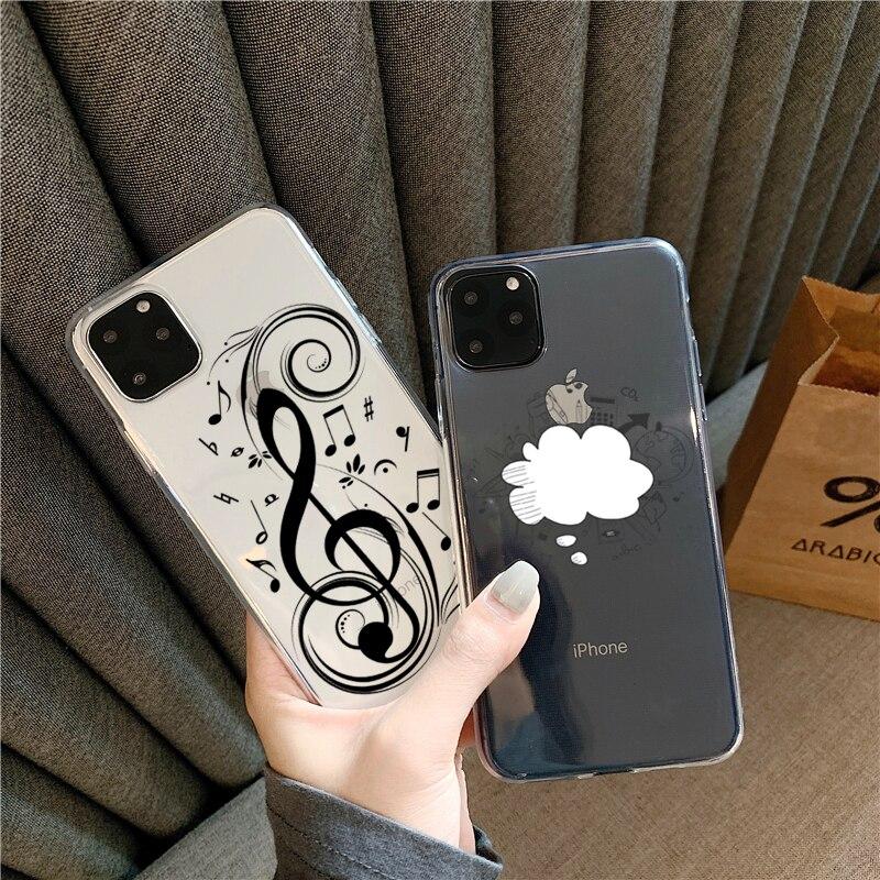Linda música Graffiti Wing guitarra única para iPhone 11Pro XS MAX XR X SE2 2020 funda transparente suave TPU para iPhone 8 7 6 S Plus carcasas