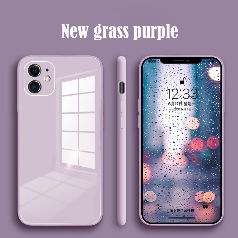 Original Liquid Silicone Tempered Glass Case for IPhone 11 12 Pro Max XS XR X 8 7 Plus SE 2020 Cell