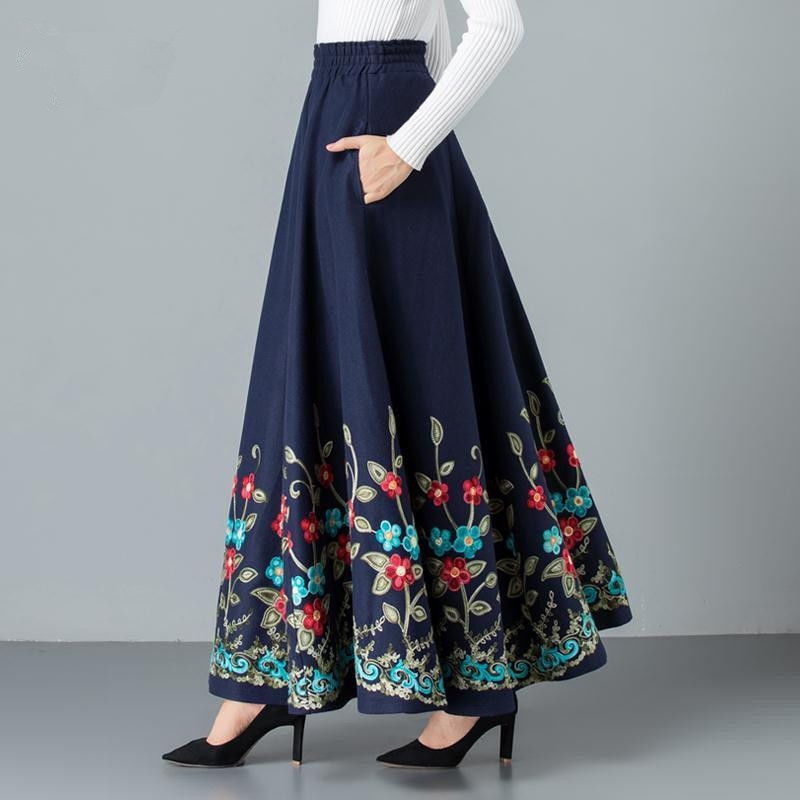 Falda plisada grande elegante bordada para mamá, falda larga de lana cálida para invierno de talla grande para mujer, falda larga informal de cintura alta de lana para oficina
