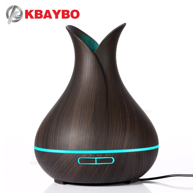 400ml electric aroma essential oil diffuser ultrasonic air humidifier with white wood grain cool mist maker for office home KBAYBO 400ml electric Aroma Essential Oil Diffuser Ultrasonic Air Humidifier Wood Grain Cool Mist maker LED Night Light for home