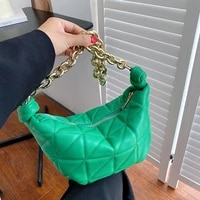 brand designer womens thick chain lingge small underarm baguette bag 2021 winter shoulder handbags high quality pu leather