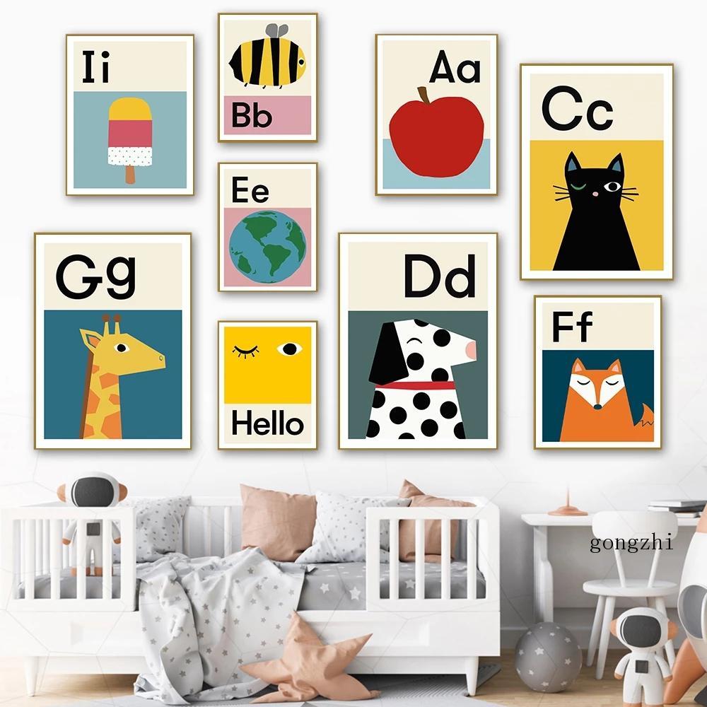 Póster educativo de dibujos animados del alfabeto Abc, imagen de animales frutales,...