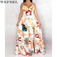 wepbel dress womens casual floral print high waist dress summer sexy backless v neck spaghetti strap slim dress